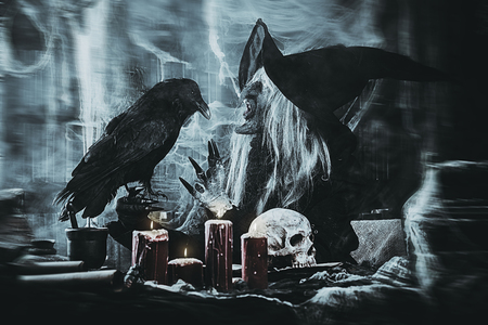 Scary wizard with raven. Halloween. Horror film. 写真素材