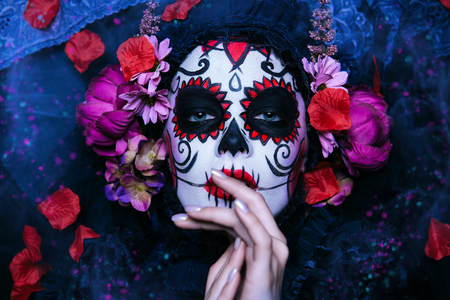 A portrait of Calavera Catrina. Sugar skull makeup. Dia de los muertos. Day of The Dead. Halloween.