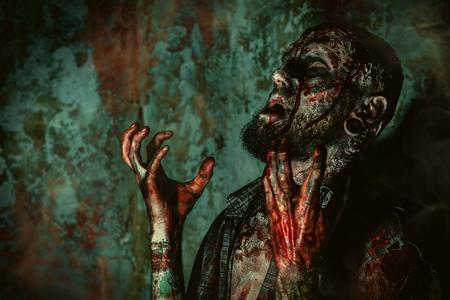 Close up of a creepy scary zombie. Halloween. Horror film.
