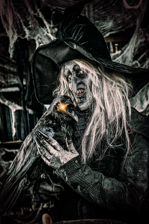 Scary wizard with raven. Halloween. Horror film. 写真素材 - 108635187