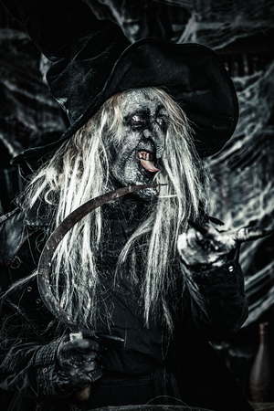 Scary wizard. Halloween. Horror film. Stock Photo