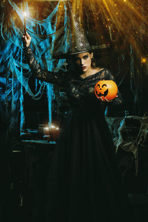 A witch in a castle. Halloween. Celebration. Stock Photo