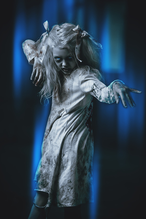 A portrait of a scary blonde girl. Halloween. Horror film.