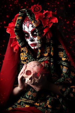A portrait of Calavera Catrina. Sugar skull makeup. Dia de los muertos. Day of The Dead. Halloween.