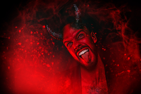 A close-up portrait of a bad demon. Horror movie, nightmare. Halloween. 스톡 콘텐츠 - 110445912