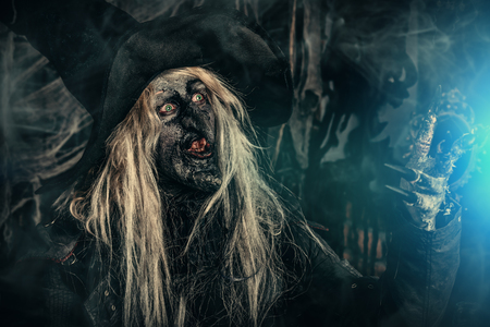 A portrait of a scary wizard. Halloween. Horror film. 写真素材