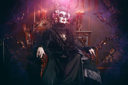 Calavera Catrina in interior. Sugar skull makeup. Dia de los muertos. Day of The Dead. Halloween. Stock Photo