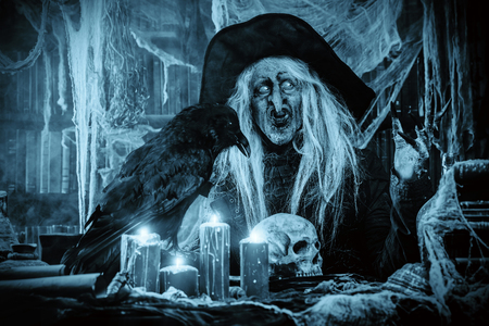 A portrait of a scary wizard with a black raven. Halloween. Horror film. Imagens - 110824608