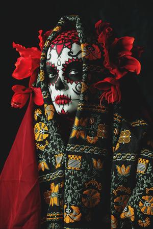 A close-up portrait of Calavera Catrina. Sugar skull makeup. Dia de los muertos. Zdjęcie Seryjne