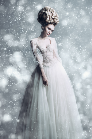 A full length portrait of a cold beautiful lady wearing a fluffy dress and posing in the studio over the grey background. Beauty,cosmetics, hairstyle, fashion. Stock Photo - 114115179