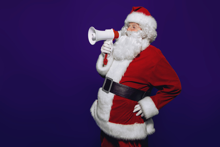 A portrait of Santa Claus with a mouthpiece. Merry Christmas and Happy New Year!