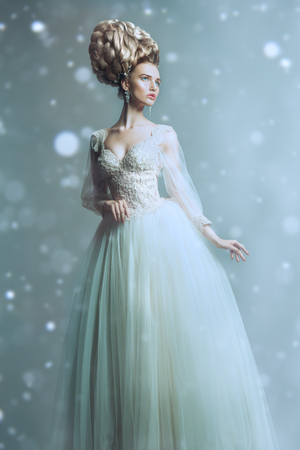 A full length portrait of a cold beautiful lady wearing a fluffy dress and posing in the studio over the gray background. Beauty,cosmetics, hairstyle, fashion.