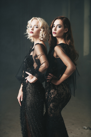Two attractive women is posing in evening dresses. Evening dresses. Fashion, beauty.