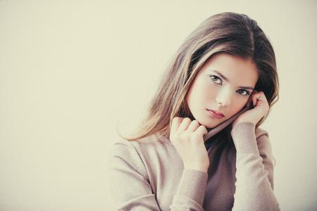 Portrait of a cute girl teenager. Beauty, fashion. Stock Photo