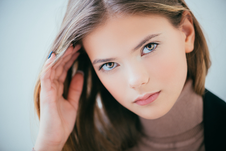 Portrait of a cute girl teenager. Beauty, fashion. Archivio Fotografico