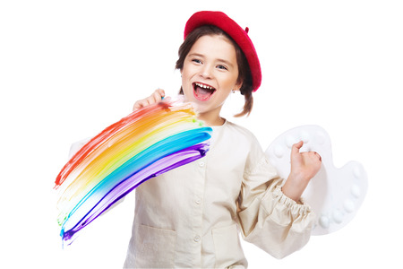 A portrait of a positive girl with paints. Creativity, artist. Stock Photo