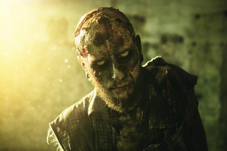 A portrait of a creepy scary zombie. Halloween. Horror film.
