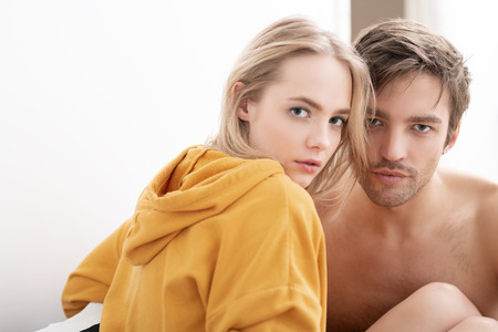 Two young people in love are hugging. Love affair, beauty. Stock Photo