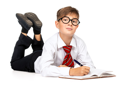 Portrait of emotional schoolboy in glasses with a book. Childhood, education. Kid, studying. Stock Photo
