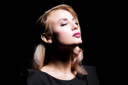 A close-up portrait of a beautiful blonde lady, Beauty, fashion. Banque d'images