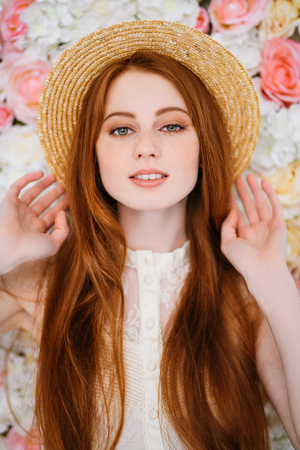 A portrait of a lovely beautiful girl wearing a hat. Beauty, summer fashion.