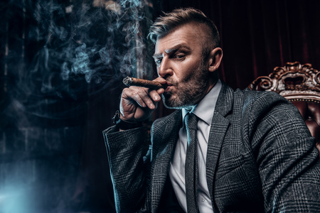 A portrait of a handsome mature man in a formal costume smoking a cigar in the interior. Mens beauty, fashion. Banco de Imagens