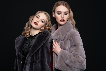 A portrait of two fashionable girls wearing fur coats. Winter fashion and style.