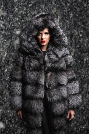 Beautiful woman in a fur coat with hood posing in studio. Luxury, rich lifestyle. Fashion shot. Stock Photo
