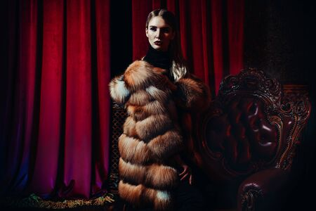A portrait of a beautiful girl wearing a fur coat. Beauty, winter fashion. Reklamní fotografie