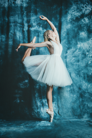 A full length portrait of an elegant refined female ballet dancer posing in the studio over the grunge background. Talent, fashion for ballet dancers. Stock Photo - 125946273