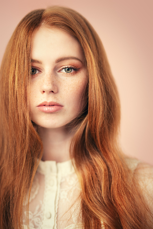 A close up portrait of a lovely mysterious girl. Beauty, cosmetics. 写真素材
