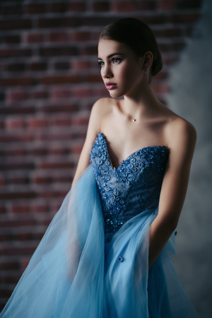 A portrait of a mysterious lady in a light blue dress posing indoor. Fairy tale, beauty, fashion. Imagens