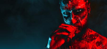 Close-up of a creepy scary zombie. Halloween. Horror film. Standard-Bild