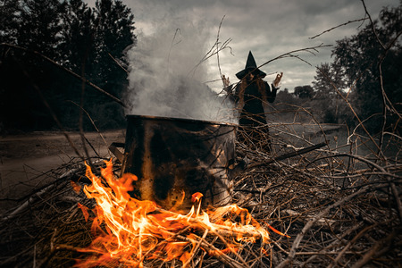A portrait of an angry witch near the fire cooking spell. Magic, dark force, spell. 写真素材 - 129443150
