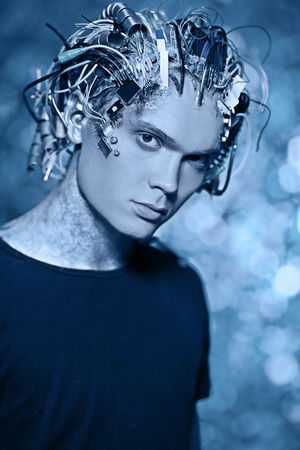 Cyborg. Biological human robot with wires implanted in the head. Technologies of the future.