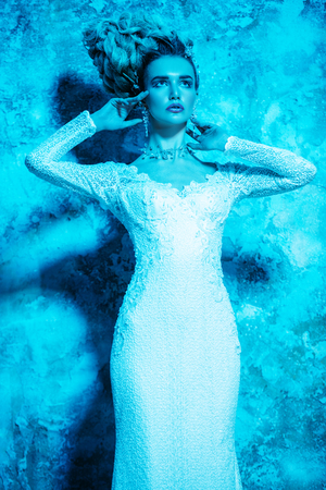 A portrait of a cold beautiful lady wearing a tight dress. The snow Queen. Beauty, cosmetics, hairstyle, fashion.