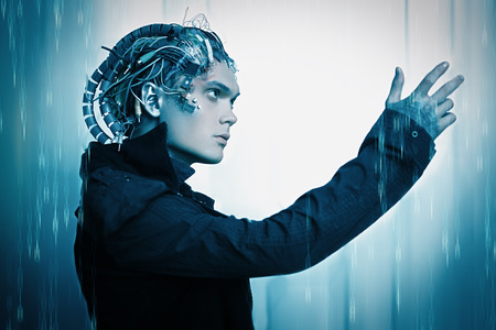 Cyborg looks at his hand over digital background. Biological human robot with wires implanted in the head. Technologies of the future.