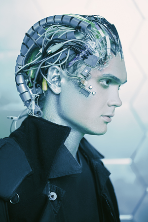 Portrait of a cyborg man. Biological human robot with wires implanted in the head. Technologies of the future. Zdjęcie Seryjne