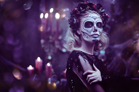 Day of The Dead. Charming and dangerous Calavera Catrina in an old abandoned house. Sugar skull girl. Dia de los muertos. Halloween. Stock fotó