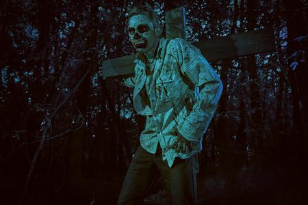 Zombies risen in the night cemetery. Halloween. Thriller. 写真素材