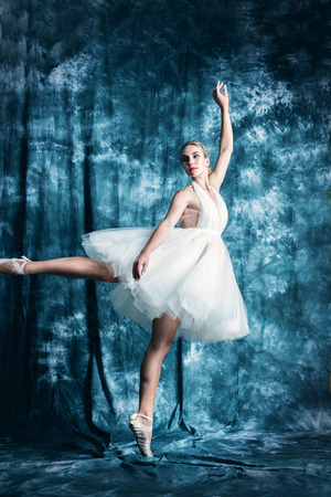 A full length portrait of an elegant refined female ballet dancer posing in the studio over the grunge background. Talent, fashion for ballet dancers. Stock Photo