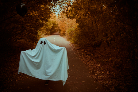 A lonely ghost of a child under a white sheet stands on a deserted road in the forest. Halloween.