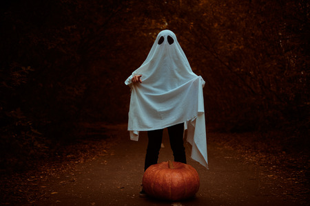 A ghost of a child under a white sheet stands in a shadow forest with pumpkin. Halloween concept.