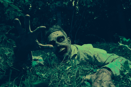 Zombie climbs out of the grave in the night cemetery. Halloween. Horror.