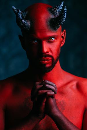 A close-up portrait of a bad demon. Horror movie, nightmare. Halloween. 写真素材 - 131659998