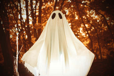 A ghost child under a white sheet with light inside in a dark forest. Halloween concept. Stock fotó