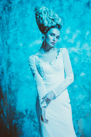 A portrait of a cold beautiful lady wearing a tight dress. The snow Queen. Beauty,cosmetics, hairstyle, fashion.