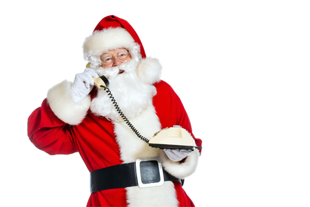 A portrait of Santa Claus with a telephone. Merry Christmas and Happy New Year!