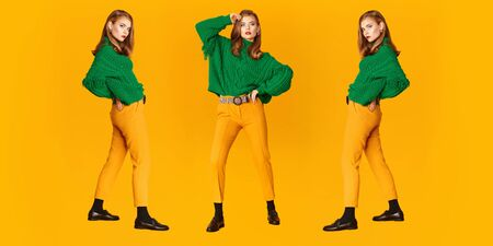 Fashion shot. Full length portrait of a beautiful modern girls in bright clothes over yellow background. Copy space.