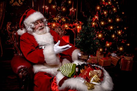 A portrait of Santa Claus sitting  and holding small Christmas tree at his home decorated for Christmas. Miracle time. Christmas, New Year.